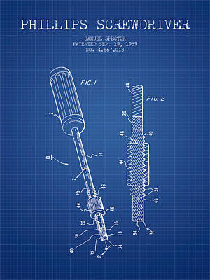 Craftsmen Digital Art - Phillips Screwdriver Patent From 1989 - Blueprint by Aged Pixel