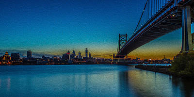 Photograph - Philly And The Ben Franklin Bridge by David Hahn