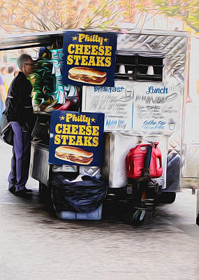 Philly Cheese Steak Cart Art Print