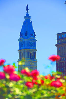 City Hall Digital Art - Philly City Hall And Flowers by Constantin Raducan