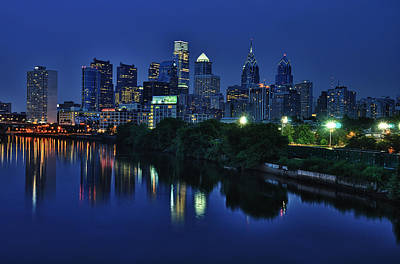 Evening Photograph - Philly Skyline by Mark Fuller