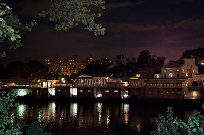 Philly Waterworks At Night Art Print