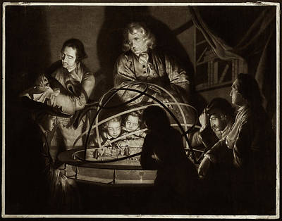 Mezzotint Photograph - Philosopher Giving Lecture On The Orrery by Museum Of The History Of Science/oxford University Images