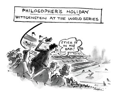 Baseball Drawing - Philosopher's Holiday Wittgenstein At The World by Lee Lorenz