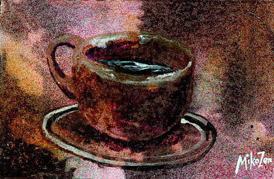 Cardboard Mixed Media - Philosophical Coffee by Art By Miko