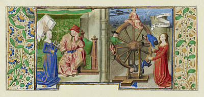 Philosophy Consoling Boethius And Fortune Turning The Wheel Art Print