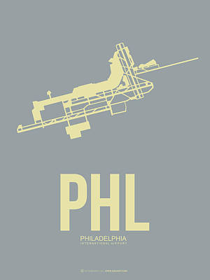 Travel Digital Art - Phl Philadelphia Airport Poster 1 by Naxart Studio