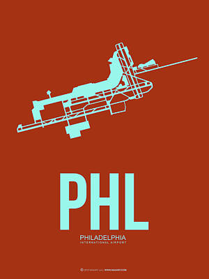 Digital Art - Phl Philadelphia Airport Poster 2 by Naxart Studio