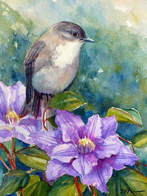Painting - Phoebe And Clematis by Janet Zeh