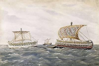 Phoenician And Assyrian Battle Ships Print by Everett