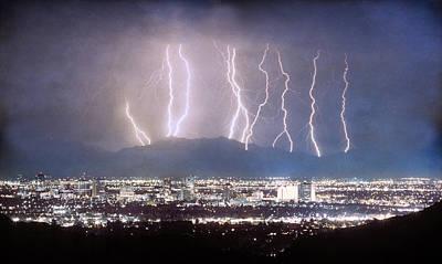 James Insogna Photograph - Phoenix Arizona City Lightning And Lights by James BO  Insogna