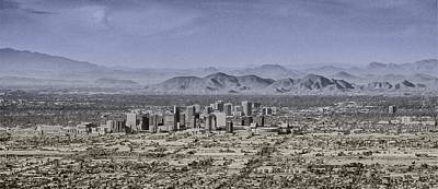 Drawing - Phoenix Arizona Panorama by John Haldane