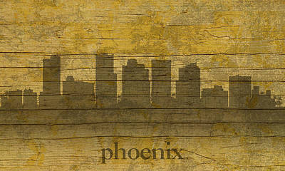 Phoenix Mixed Media - Phoenix Arizona Skyline Silhouette Distressed On Worn Peeling Wood by Design Turnpike