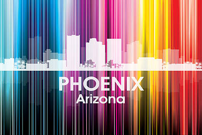Abstract Skyline Mixed Media - Phoenix AZ 2 by Angelina Vick