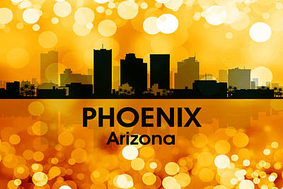Abstract Skyline Mixed Media - Phoenix AZ 3 by Angelina Vick