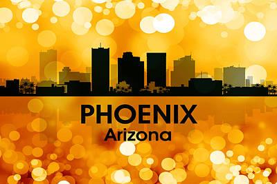 Abstract Skyline Mixed Media - Phoenix AZ 3 by Angelina Tamez