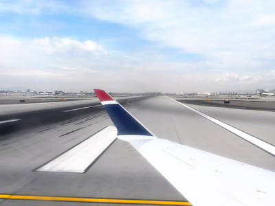 Airoplane Photograph - Phoenix Az Airport Wing Tip View by Thomas Woolworth