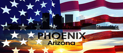 Mixed Media - Phoenix Az Patriotic Large Cityscape by Angelina Vick