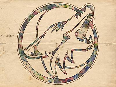 Hockey Painting - Phoenix Coyotes Retro Poster by Florian Rodarte