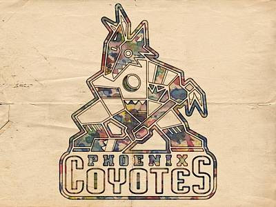 Athletes Painting - Phoenix Coyotes Vintage Poster by Florian Rodarte