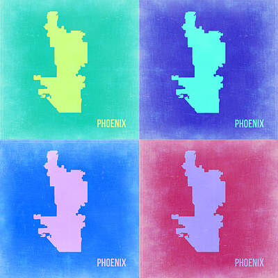 Phoenix Painting - Phoenix Pop Art Map 1 by Naxart Studio
