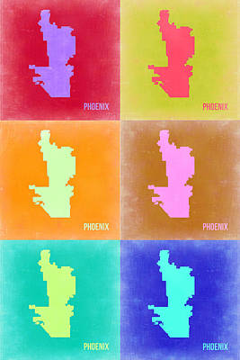 Phoenix Painting - Phoenix Pop Art Map 3 by Naxart Studio