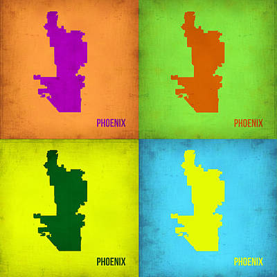 Phoenix Painting - Phoenix Pop Art Map by Naxart Studio