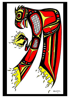 Phoenix Red And Yellow Art Print by Speakthunder Berry