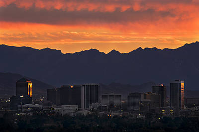 Phoenix Skyline At Sunset Print by Dave Dilli