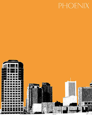 Phoenix Skyline - Orange Art Print by DB Artist