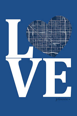 Love Digital Art - Phoenix Street Map Love - Phoenix Arizona Road Map In A Heart by Jurq Studio