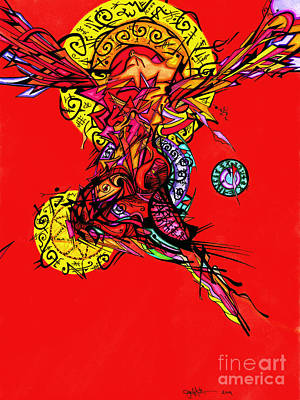 Drawing - Phoenix Woman  by Joey Gonzalez