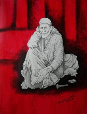 Shirdi Sai Baba Painting - Phone Baba by Rajesh Sharma