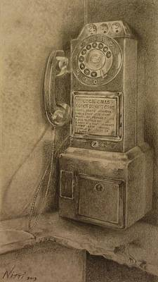 Drawing - Phone Booth by NJ Brockman