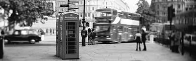 Double Decker Bus Photograph - Phone Box, Trafalgar Square Afternoon by Panoramic Images