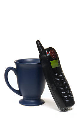 Pause Photograph - Phone Call Over Coffee by Olivier Le Queinec