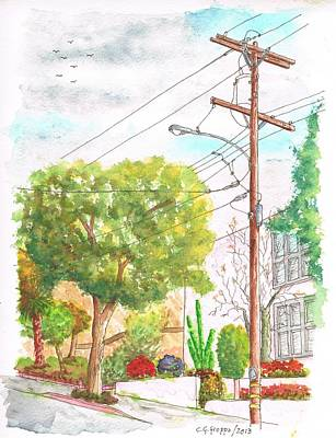 Cactus Flower Watercolor Painting - Phone Pole And Tree In Larrabee Street - West Hollywood - California by Carlos G Groppa
