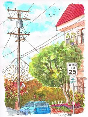 Phone Pole In Hancock Ave. And Holloway Dr. West Hollywood, California Art Print