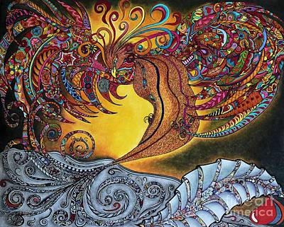Colored Pencil Abstract Drawing - Phoenix Rising by Rebeca Rambal