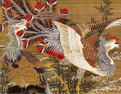 Japanese Silk Painting - Phonixes And The Rising Sun by Pg Reproductions