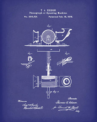 Drawing - Phonograph 1878 Patent Art Blue by Prior Art Design