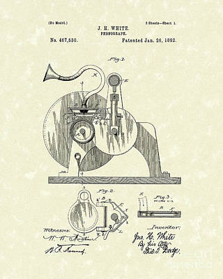 Phonograph Drawing - Phonograph 1892 Patent Art by Prior Art Design