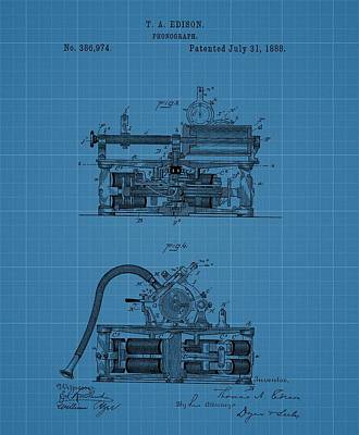 Phonograph Drawing - Phonograph Blueprint Patent Drawing by Dan Sproul