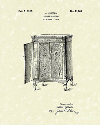 Phonograph Drawing - Phonograph Cabinet 1926 Patent Art by Prior Art Design