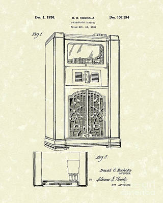 Phonograph Drawing - Phonograph Cabinet 1936 Patent Art by Prior Art Design