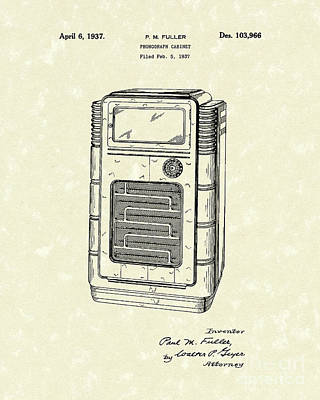 Phonograph Drawing - Phonograph Cabinet 1937 Patent Art by Prior Art Design