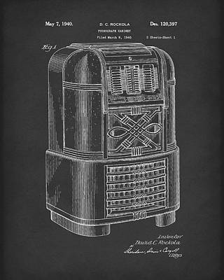Drawing - Phonograph Cabinet 1940 Patent Art Black by Prior Art Design