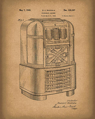 Phonograph Drawing - Phonograph Cabinet 1940 Patent Art Brown by Prior Art Design