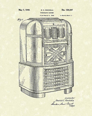 Phonograph Drawing - Phonograph Cabinet 1940 Patent Art by Prior Art Design