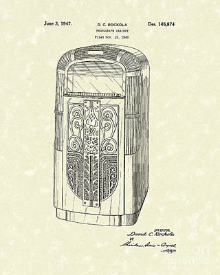 Phonograph Drawing - Phonograph Cabinet 1947 Patent Art by Prior Art Design